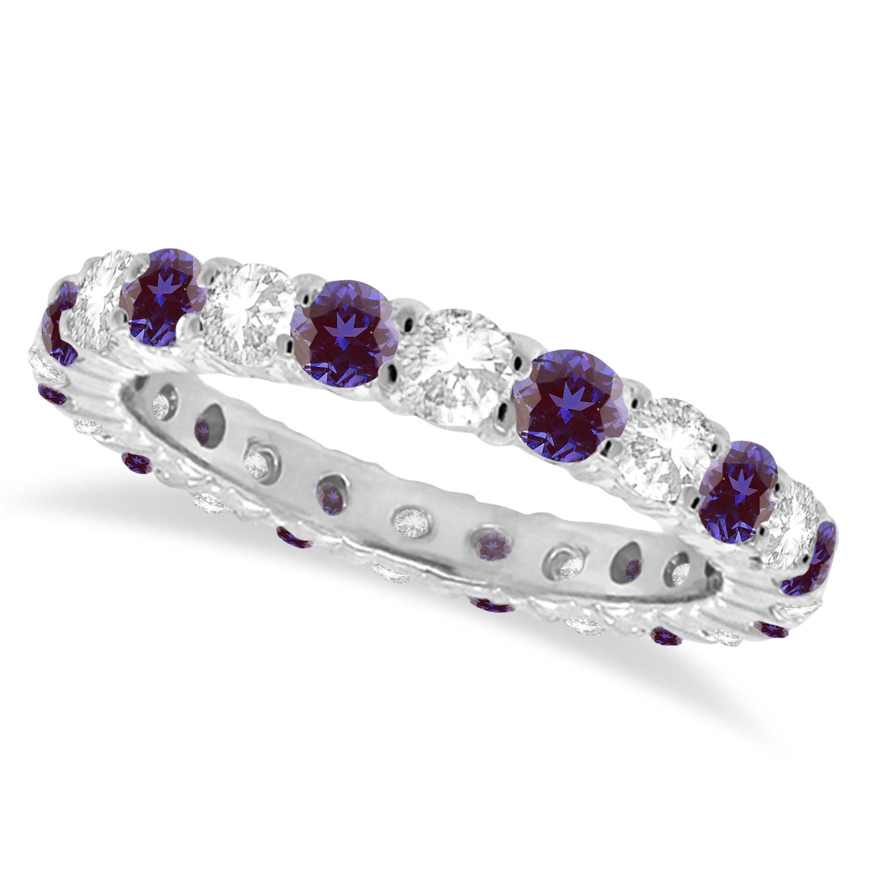 Purple Lab Alexandrite & Diamond Eternity Ring Band 14k White Gold (1.07ct) size 7