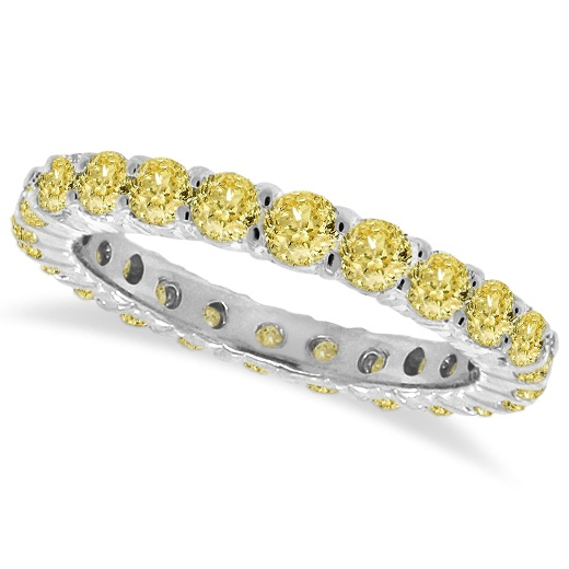 Fancy Yellow Canary Diamond Eternity Ring Band 14k White Gold (1.07 ctw) - SIZE 5