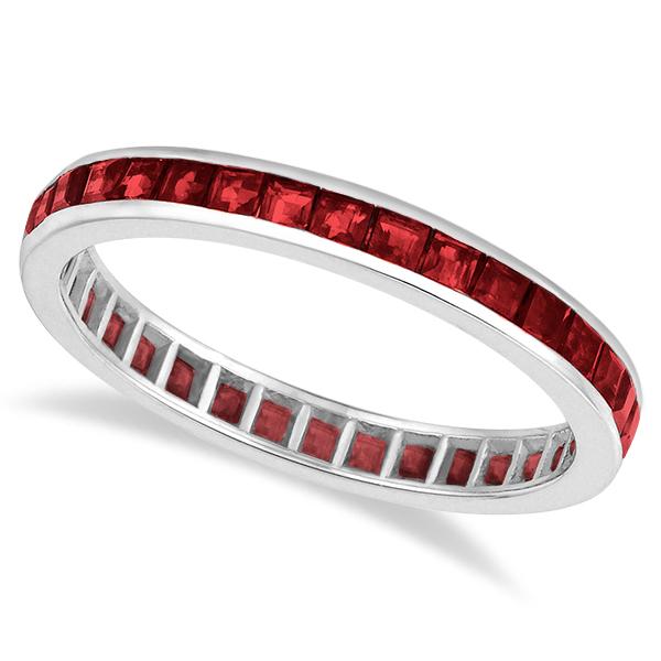 Princess-Cut Garnet Eternity Ring Band 14k White Gold (1.20ct) size 5.5