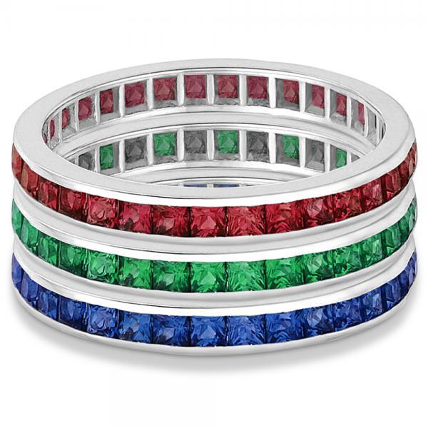 Princess-Cut Ruby Eternity Ring Band 14k White Gold (1.20ct) Size 5.5