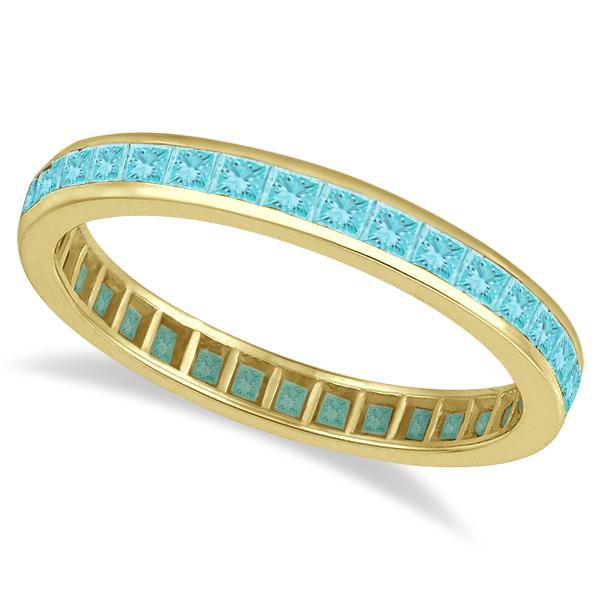 Princess-Cut Aquamarine Eternity Ring Band 14k Yellow Gold (1.36ct) size 6.5, 9
