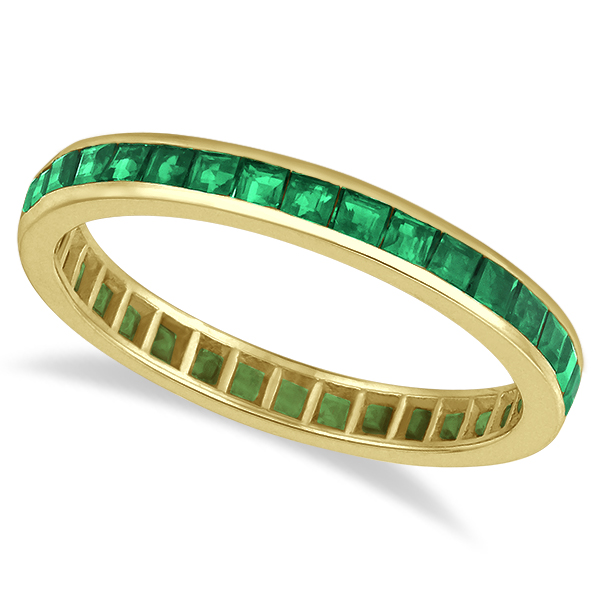 Princess-Cut Emerald Eternity Ring Band 14k Yellow Gold (1.36ct) size 5.5