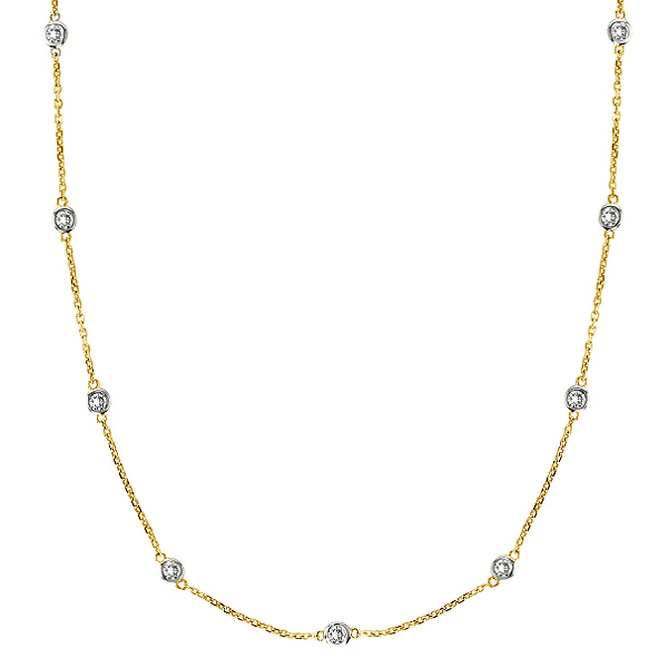 Moissanite Station Necklace Bezel-Set in 14k Two Tone Gold (1.50 ctw)