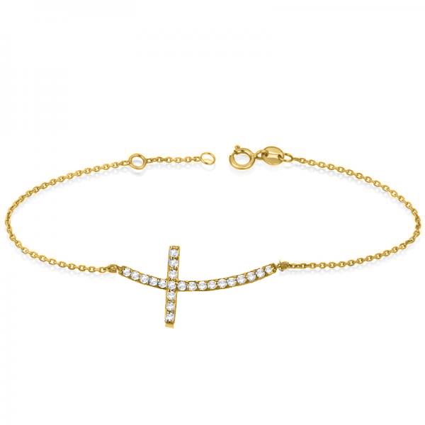Diamond Sideways Curved Cross Ankle Bracelet 14k Yellow Gold (0.50ct)