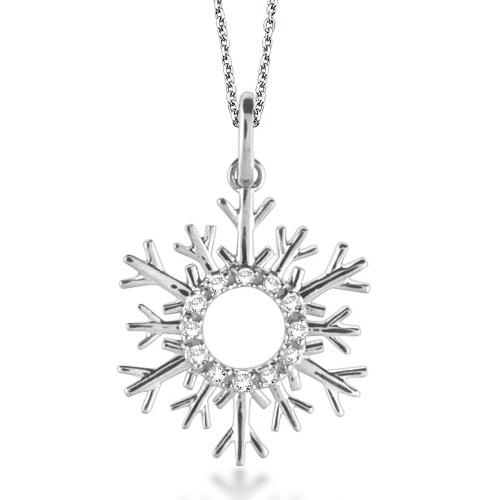 Snowflake Diamond Pendant Necklace 14k White Gold (0.10ct)