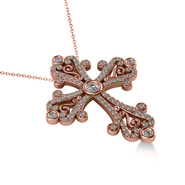 Diamond byzantine cross diamond cross pendant diamond religious diamond byzantine cross pendant necklace in 14k rose gold 050ct mozeypictures Image collections