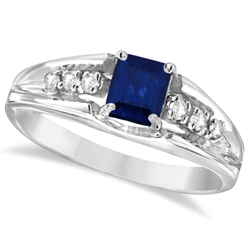 Emerald-Cut Diamond and Blue Sapphire Ring 14k White Gold (0.68ctw)