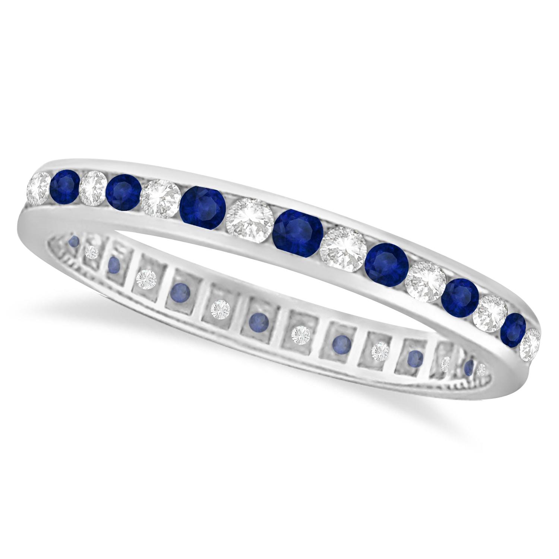 1.04ct Blue Sapphire & Diamond Channel Set Eternity Band 14k Gold Ring