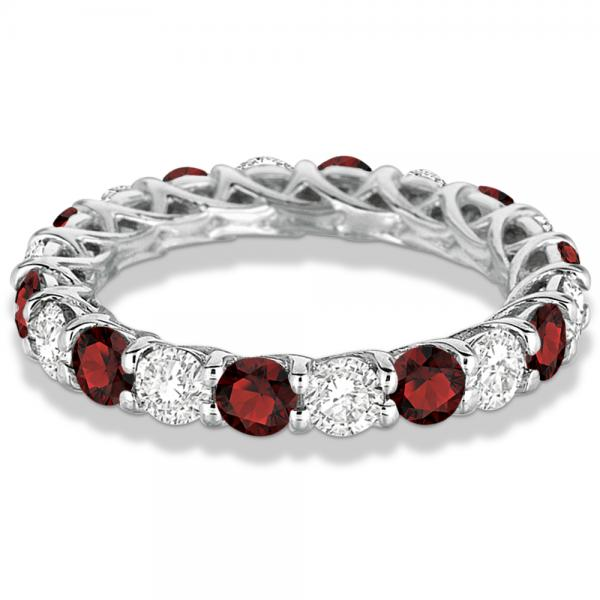 Luxury Diamond & Garnet Eternity Ring Band 14k White Gold (4.20ct) Size 7