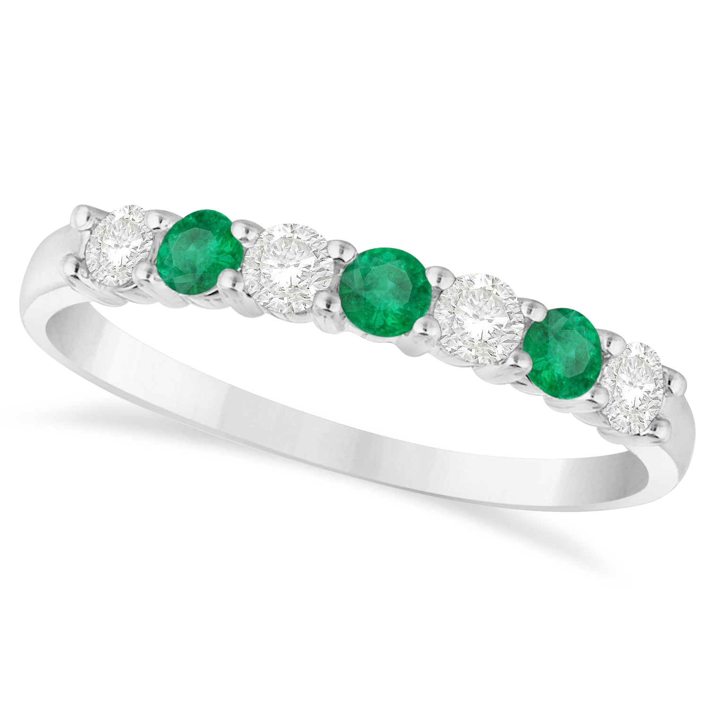 Diamond & Emerald 7 Stone Wedding Band 14k White Gold (0.50ct)