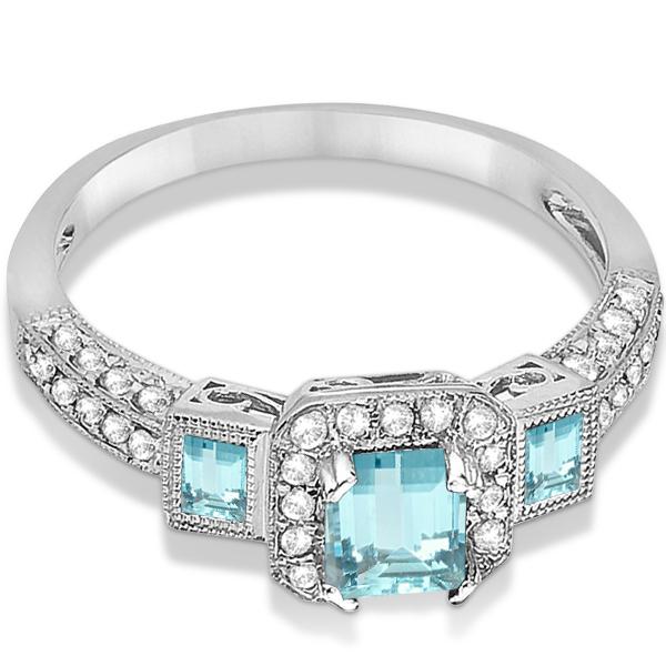 Aquamarine & Diamond Engagement Ring in 14k White Gold (1.35ctw) Size 5