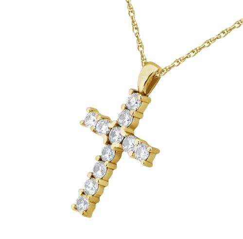 Prong set diamond cross pendant necklace 14k yellow gold 055ct prong set diamond cross pendant necklace 14k yellow gold 055ct mozeypictures Choice Image