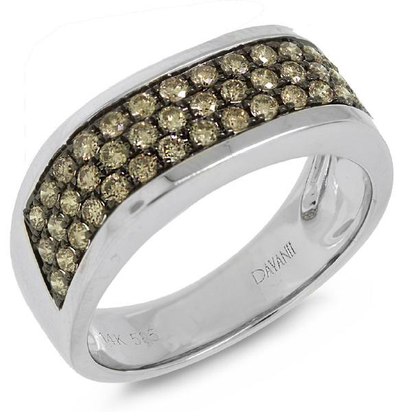 1.08ct 14k White Gold Champagne Diamond Man's Band Ring