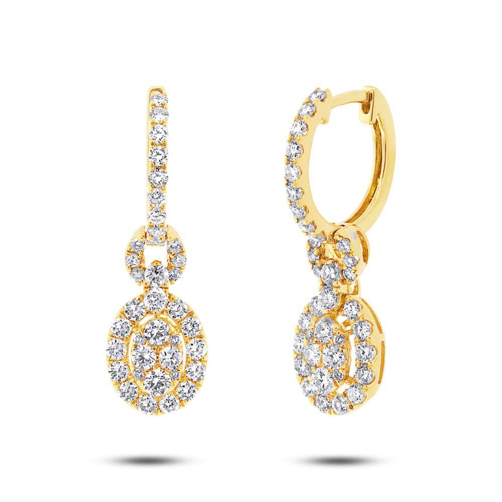 Huggie Drop Halo Diamond Earrings 14k Yellow Gold 1.42ctw