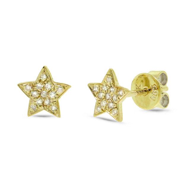 0.07ct 14k Yellow Gold Diamond Star Stud Earrings
