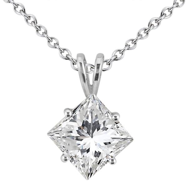 0.50ct. Princess-Cut Diamond Solitaire Pendant in 18k White Gold (H, VS2)