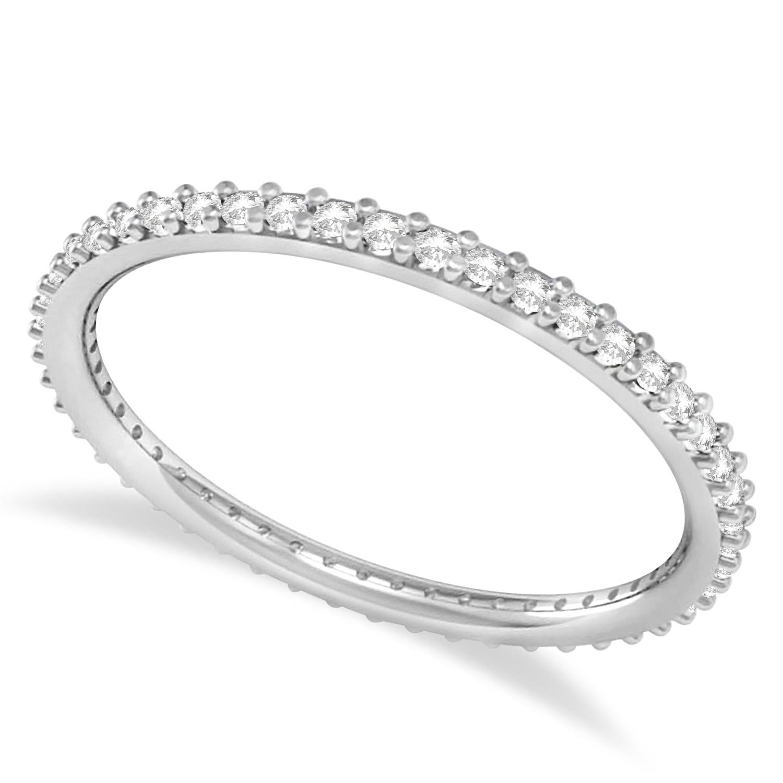 Petite Diamond Prong-Set Eternity Wedding Band 14k White Gold (0.25ct) size 5.75