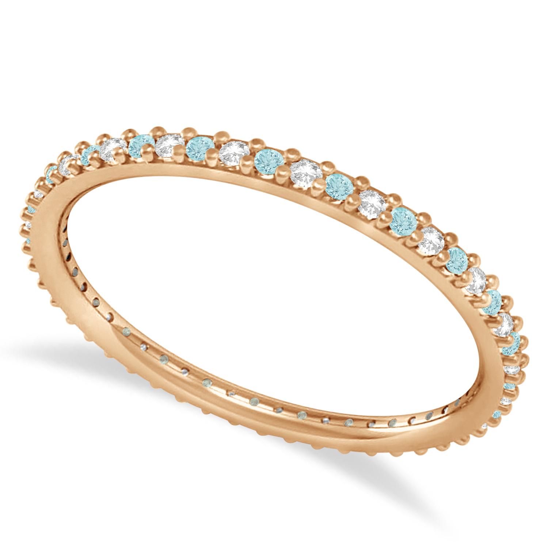 Petite Diamond & Aquamarine Eternity Wedding Band 14k Rose Gold (0.25ct) size 5.5