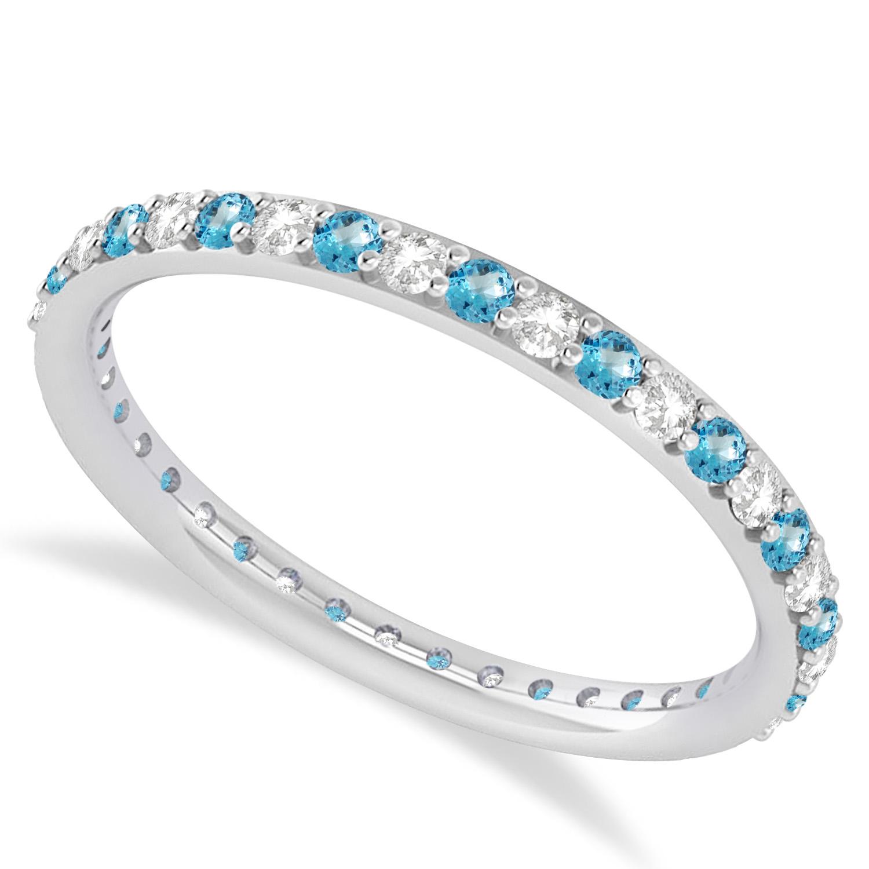 Diamond & Blue Topaz Eternity Wedding Band 14k White Gold (0.57ct) - SIZE 6.5