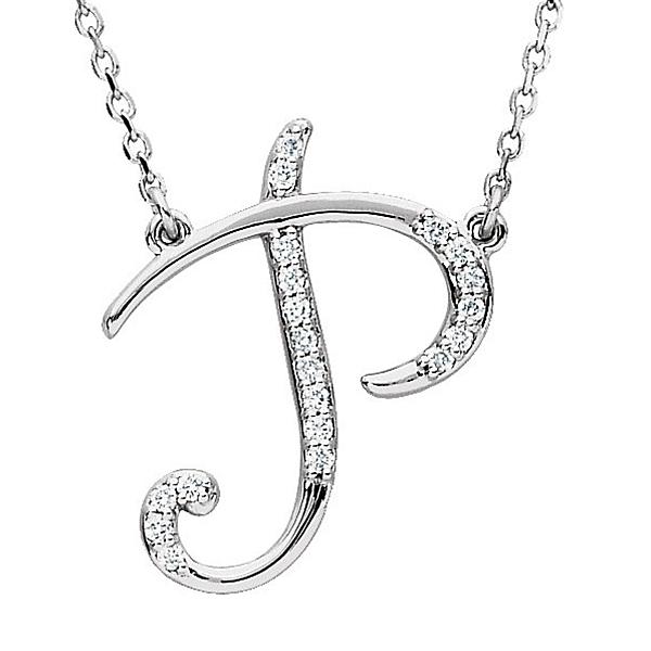 Personalized Diamond Cursive P Initial Pendant Necklace 14k White Gold