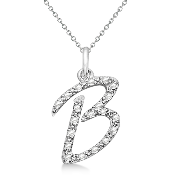 Personalized Diamond Script Letter B Initial Necklace in 14k White Gold