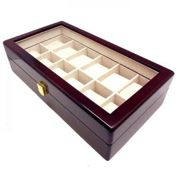 Glass Top 12 Watch Box Holder Cherry Wood Finish