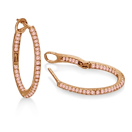 Hidalgo Micro Pave Pink Diamond Hoop Earrings 18k Rose Gold (0.63ct)