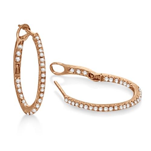 Hidalgo Micro Pave Diamond Hoop Earrings 18k Rose Gold (0.37ct)