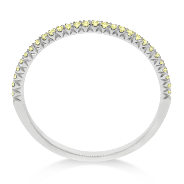 Micro Pave Yellow Diamond Ring in 18k White Gold by Hidalgo (0.11 ct)
