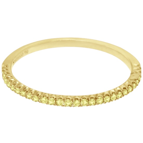 Micro Pave Yellow Diamond Ring in 18k Yellow Gold by Hidalgo (0.11 ct)