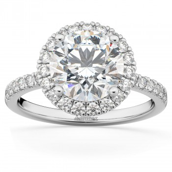 Lab Grown Diamond Accented Halo Engagement Ring Setting 18k White Gold (0.50ct)