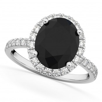 Oval Black Diamond & Diamond Engagement Ring 14K White Gold 3.51ct