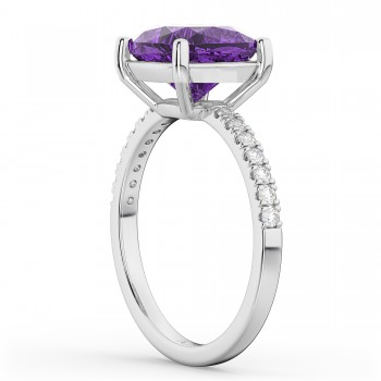 Cushion Cut Amethyst & Diamond Engagement Ring 14k White Gold (2.81ct)