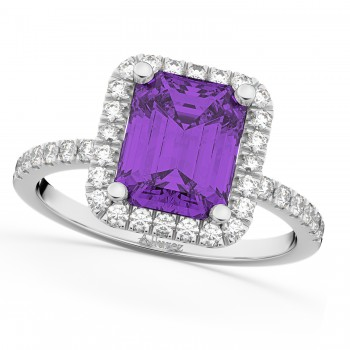 Amethyst & Diamond Engagement Ring 14k White Gold (3.32ct)