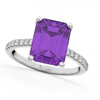 Emerald Cut Amethyst & Diamond Engagement Ring 14k White Gold (2.96ct)