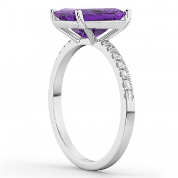 Emerald Cut Amethyst & Diamond Engagement Ring 14k White Gold (2.96ct)