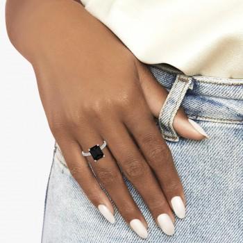 Emerald Cut Black Diamond & Diamond Engagement Ring 14k White Gold (2.96ct)
