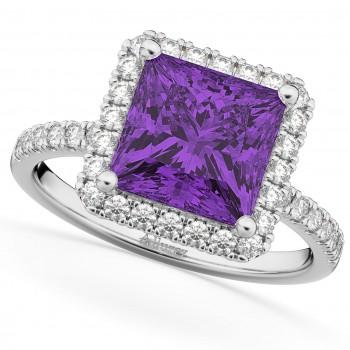 Princess Cut Halo Amethyst & Diamond Engagement Ring 14K White Gold 3.47ct