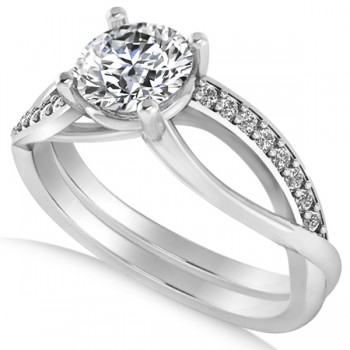 Diamond Accented Bypass Engagement Ring in 14k White Gold (1.16ct)