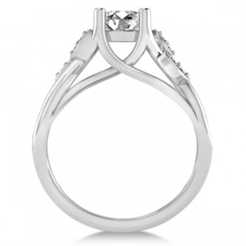 Diamond Accented Tree Engagement Ring in 14k White Gold (1.08ct)