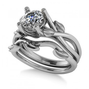 Diamond Vine Leaf Engagement Ring Bridal Set 14k White Gold (1.00ct)