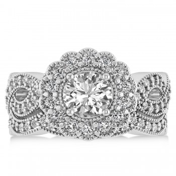 Diamond Flower Halo Bridal Set 14k White Gold (2.22ct)
