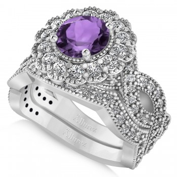 Diamond & Amethyst Flower Halo Bridal Set 14k White Gold (2.22ct)