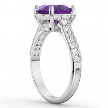 Oval Amethyst & Diamond Engagement Ring 14k White Gold (4.42ct)