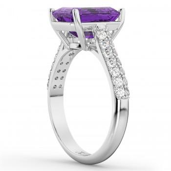 Emerald-Cut Amethyst & Diamond Engagement Ring 14k White Gold (5.54ct)