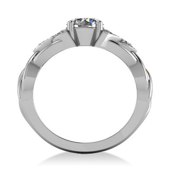 Celtic Round Diamond Engagement Ring 14k White Gold (1.06ct)