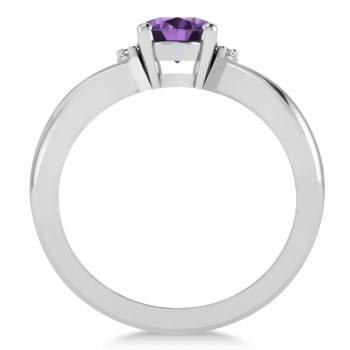 Oval Cut Amethyst & Diamond Engagement Ring With Split Shank 14k White Gold (1.69ct)