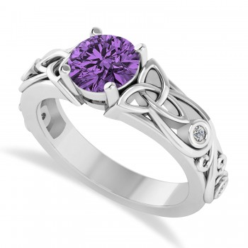 Diamond Accented Bezel Amethyst Celtic Engagement Ring 14k White Gold (1.06ct)