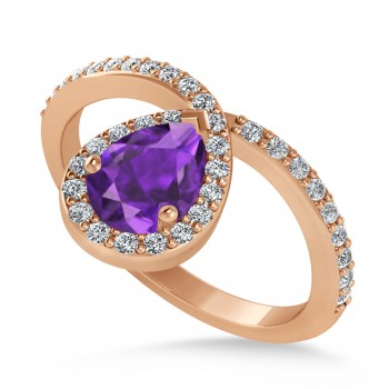 Pear Amethyst & Diamond Nouveau Ring 14k Rose Gold (1.21 ctw)