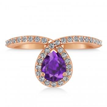 Pear Amethyst & Diamond Nouveau Ring 14k Rose Gold (1.21 ctw)
